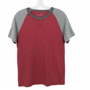 American Eagle Raglan T Shirt Short Sleeve Red XS